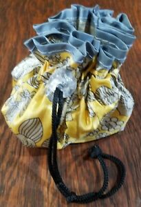 Small Handmade Drawstring Bag, floral print with clear plastic lining
