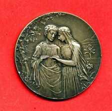 (M 103) MÉDAILLE EN ARGENT DE MARIAGE AVEC SA BOITE 1906 (TRÈS RARE)