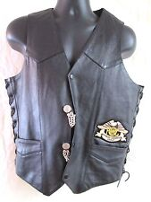FMC HARLEY-DAVIDSON BLACK LEATHER VEST NICKEL CHAINS NWOT MEN 40  QUICK SHIPPER