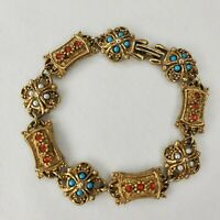 "Vintage Goldette Bracelet Russian Gold Tone Turquoise Silver Red Stones 7"""