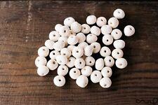 500 x Handmade Ceramic Bisque Bead Ball Hole Off-White Stoneware Round Craft