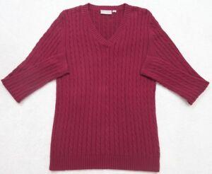 Croft & Barrow Burgundy Red Sweater Women's Long Sleeve V-Neck XL Extra Large