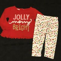 MUDPIE 2pc Set Baby Girl 3-6 Month Jolly & Bright Christmas Outfit Pants Top EUC