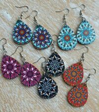 light weight wooden teardrop mandala dangle drop earrings
