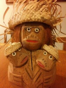 MONKEYS MADE FROM COIR / COCONUT - HAND CARVED - GENUINE VINTAGE.