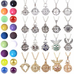 Harmony Ball Cage Leather Silver Locket Angel Caller Sound Bell Pendant Necklace