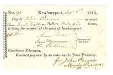 1816 Town of Newburyport MA Payment Voucher