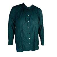 New LOFT Womans Clip Dot Ruffle Collar Long Sleeve Blouse Top Sz XL Green NWT