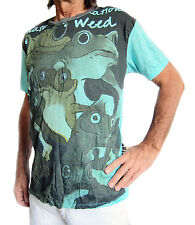 Retro-Look 100% Algodón Camiseta manga corta, turquesa Rana Diseño, Weed LABEL