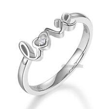 14K White Gold Love Wedding Band Anniversary Women Ring 0.01 Ct Diamond Fine 585