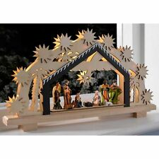 26cm Pre-Lit Nativity Scene LED Illuminated Wooden Christmas Decor Window Table