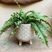 Grey Patterned Concrete Plant Pot with Feet Legs Stand, Round Nada Planter L