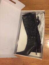 "Black Leather High Heel Boots, Sexy 3"" Heel,  Sz 37"