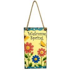 Spring Sign Hanging Board Plaque Easter Flower Butterfly Door Hanger Wall Decor