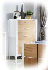 Isha Large 5 Drawer White Timber Tallboy with Natural Timber Veneer - BRAND NEW