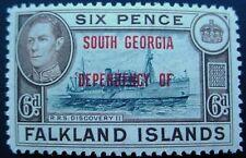 FALKLAND ISLANDS DEPENDENCIES 1944: SOUTH GEORGIA OVERPRINTS;  6d MNH STAMP