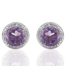 Ohrringe/Ohrstecker Joan, 925er Silber, 1,512 Kt. echter Amethyst/Diamant