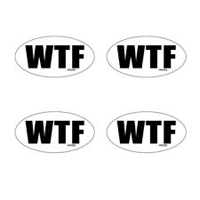 Hard Hat Wtf Oval Stickers 4 Pack Funny Vinyl Decals Helmet Motorcycle Hh055