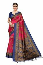 Women's Mysore Silk Printed Saree Border Tassels With Blouse Piece Pink Color