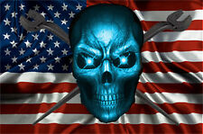 """Ironworker """"American Crossed Spuds and Blue Skull"""" Decal/Sticker FREE SHIPPING!!"""