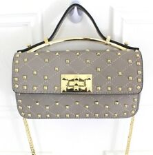Studded Celebrity Chain Handle X-Body Faux Leather Quilted Designer Dupe Bag