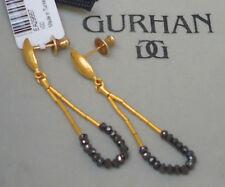 NEW $3050 Gurhan 24K Gold Rain Earrings Sapphire Drop