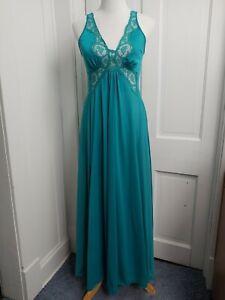 Vintage OLGA BodySilk Med Turquoise Nightgown Gown Nylon Spandex USA Lace 9297