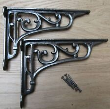 """9"""" PAIR OF ANTIQUE IRON cast Victorian scroll ornate shelf support wall brackets"""