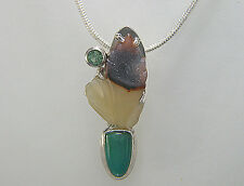 Agate. Carved Drusy. Chrisocolla. Green Tourmaline. Argentium Silver. Pendant