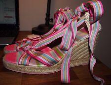 COACH Maresse ESPADRILLE Ankle Wrap-Wedge-Jute-COLORFUL Ribbon-Size 9 B!!!