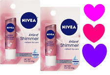 2 NIVEA A Kiss of Shimmer Radiant Lip Care Balm Moisture Treatment Chap Stick!!!