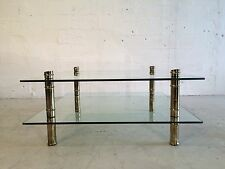 two-tier faux bamboo brass and glass coffee table mastercraft brueton pace