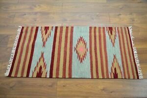Handmade Carpet Rug Kilim Hand Knotted & Woven In India 150x75cm 100% Wool Multi