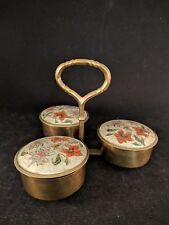 VINTAGE PENCO INDUSTRIES INDIA BRASS SERVING BOWLS WITH LIDS