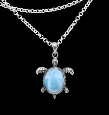 Larimar 8X10mm Oval Beautiful Sea Turtle Necklace .925 Sterling Silver