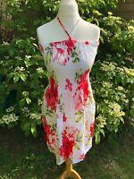 Bandeau Dress White Floral Size 10-12 Rayon Gp