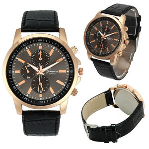 Men's Rose Gold Case Chronograph Designer Watch with Crocodile Effect Strap