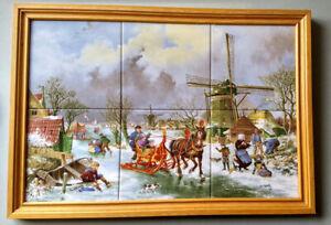J.C. Van Hunnik 6pcs Ceramic Tile Hand Painted Ter Steege Winter Scene Framed