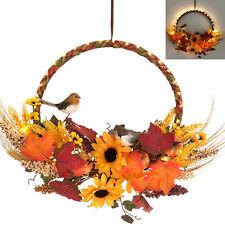 Türkranz für Sommer Herbst mit LED Beleuchtung & Timer Herbstkranz Deko Kürbis G