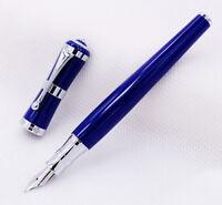 Fuliwen 2051 Fashion Fountain Pen Dark Blue Barrel & Sliver Clip F Nib Gift Pen