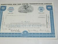 Pennsylvania New York central transportation co.100 Shares Stock Cert. Blue