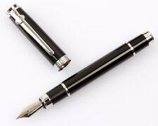 Duke Carbon Fiber Barrel Fountain Pen Medium 0.5mm Nib Chromed Trim Box Gift #JP
