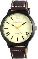 XXL Herrenuhr Gelb Braun Schwarz Titan-Look Leder Armbanduhr X295071400120