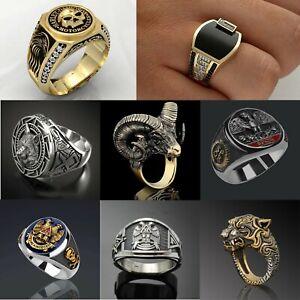 Men's Rings Steel Zinc Alloy Signet Wedding Band Thumb Biker Gang Ring Stainless