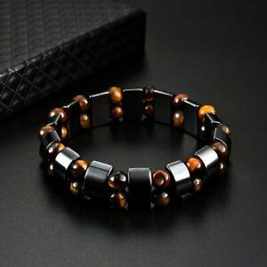 Natural Hematite Double Tiger Eye Stone Energy Bracelet Healing Balance Unisex