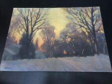 "Clifford Ulp (b.1885-d.1957) Signed Oil on Board 10""x14"" Dusk Landscape"