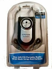 Brand NEW Craig Mini AM/FM Portable Radio With Neck Strap & Earbuds CR4116A