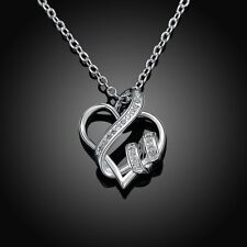 Cute Sliver Plated Heart Bannered Women's Exquisite Rope Chain Pendant Necklace