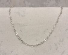 "9CT SOLID WHITE GOLD ""LOVE HEART"" NECKLACE/CHAIN 2.2gr"