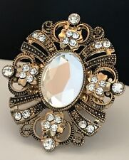 DESIGNER Statement Ring Antique Gold Tone Clear Crystal Stretch Premier Chic 4P